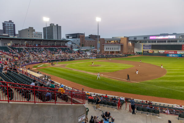 Overlooking the Erie Seawolves game at UPMC Park in Erie PA