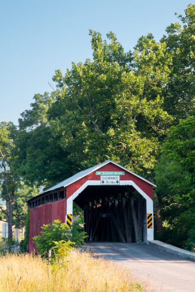 Front view of Mount Pleasant Covered Bridge in PA