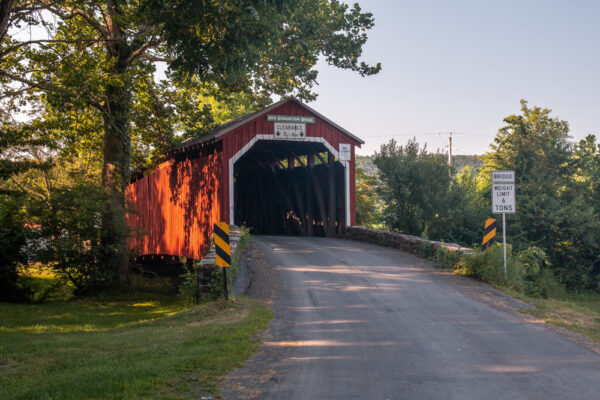 Front view of New Germantown Covered Bridge in Perry County Pennsylvania