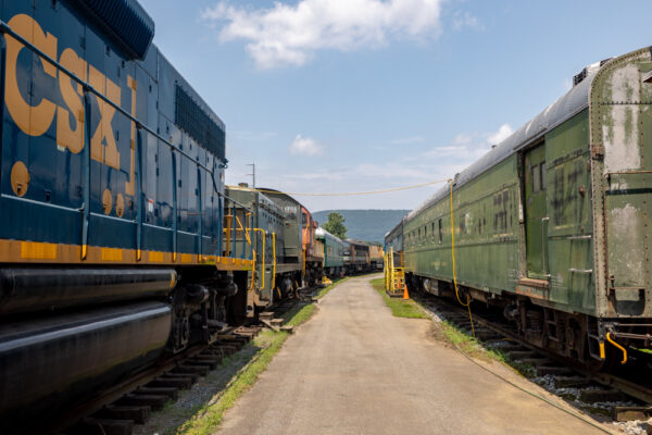 Antique trains in the Outdoor Yard at the Reading Railroad Heritage Museum near Reading PA