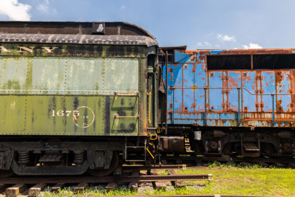 Green and blue railcars at the Reading Railroad Heritage Museum in Berks County Pennsylvania