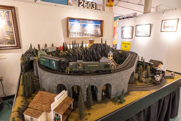Model train display at the Reading Railroad Heritage Museum in Hamburg Pennsylvania