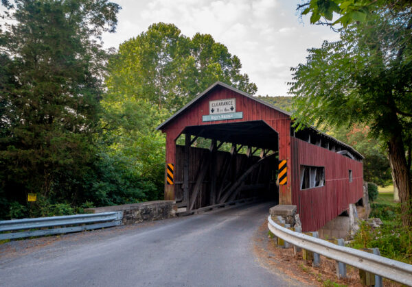 Front view of Rice's Covered Bridge in Perry County PA