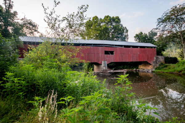 A side view of Rice Covered Bridge in Landisville PA