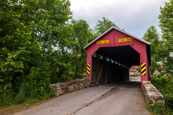 Front view of Saville Covered Bridge in Perry County PA
