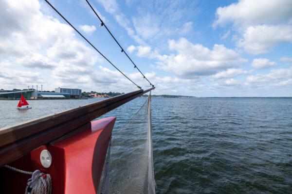 Bow of the Scallywags cruising Presque Isle Bay in Erie Pennsylvania