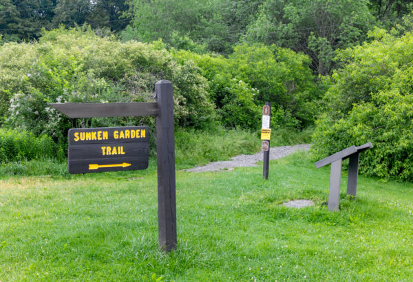 The trailhead for the Sunken Garden Trail in Moraine State Park in Butler County PA