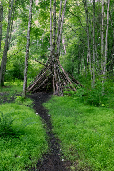 Teepee made of sticks in Moraine State Park in Butler County PA