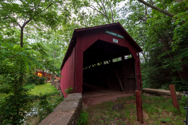 Front view of Waggoner's Covered Bridge in Perry County PA