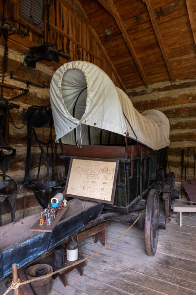 Restored wagon at the Compass Inn Museum in Laughlintown Pennsylvania