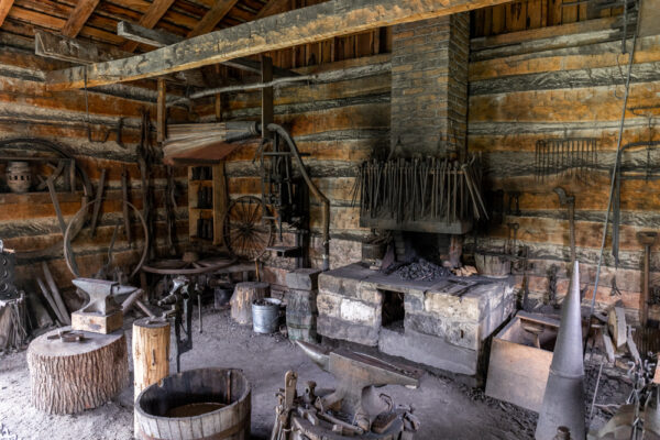 Blacksmith shop at the Compass Inn Museum in Westmoreland County PA