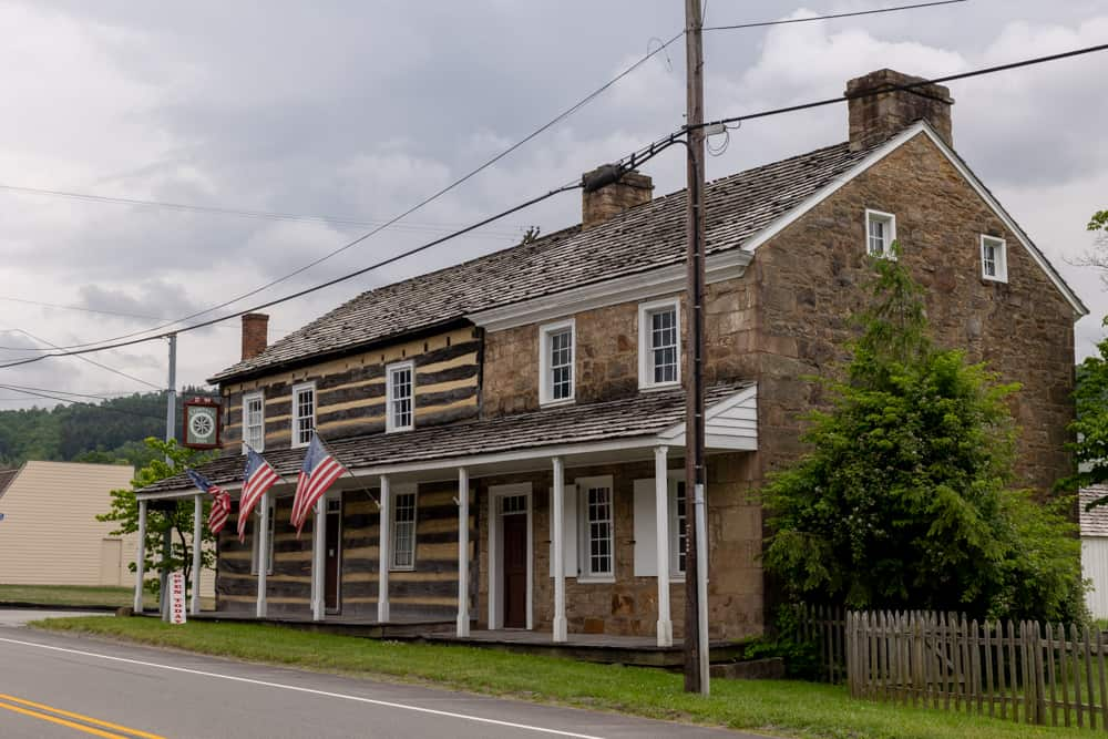 The exterior of the Compass Inn Museum in Laughlintown PA