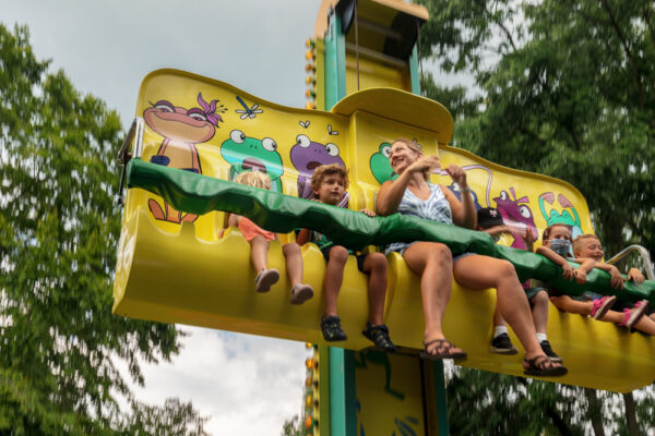 People on the Frog Hopper ride at Dutch Wonderland in Lancaster PA