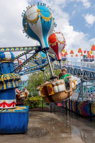 Kids riding a hot air balloon ride at Dutch Wonderland in Lancaster PA