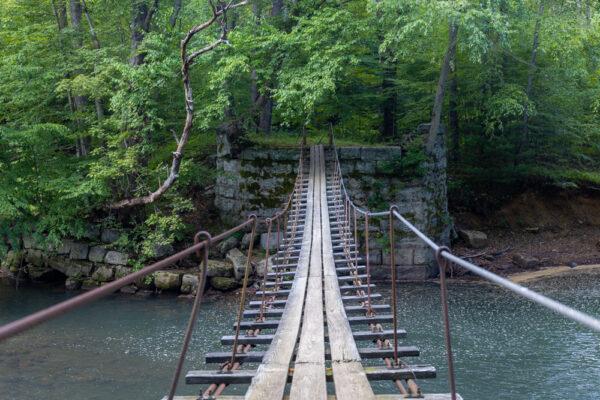 The swinging bridge over Little Toby Creek near Ridgway PA