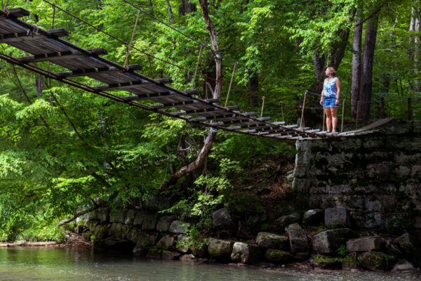 The swinging bridge along the Little Toby Rail Trail in Clarion County PA