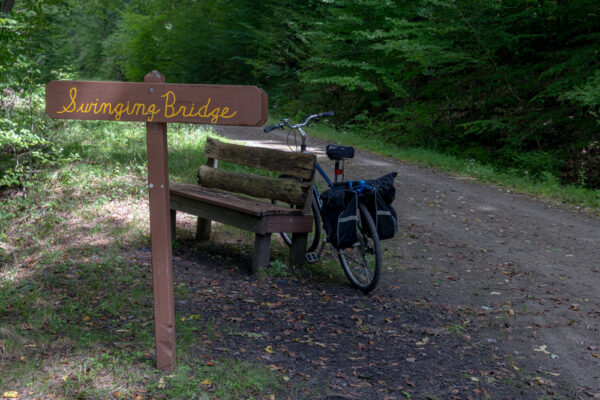 Swinging bridge sign on the Clarion-Little Toby Creek Trail in Elk County PA