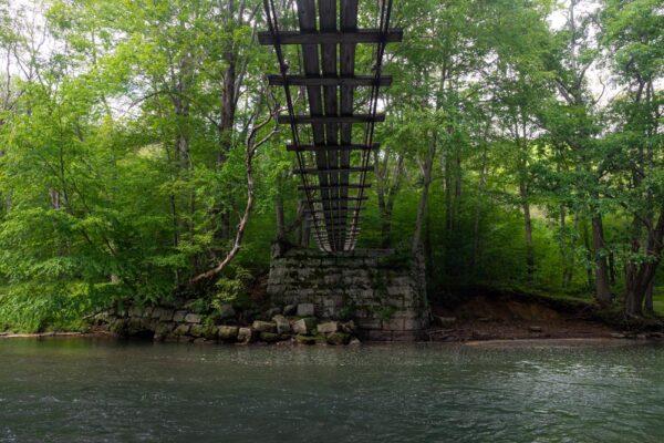 Standing under the swinging bridge over Little Toby Creek near Brockway PA