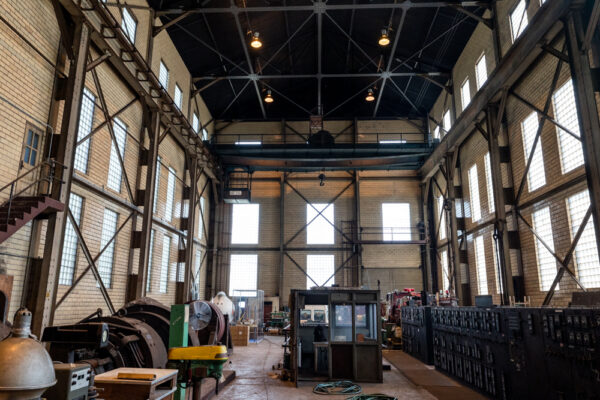 Inside the mill motor house at the National Iron and Steel Heritage Museum in Coatesville PA