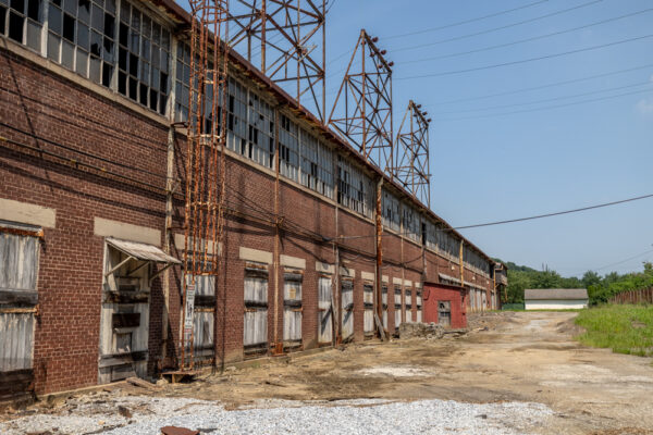 Exterior of the historic Lukens Steel Mill at the National Iron and Steel Heritage Museum in Coatesville PA