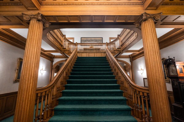 The interior steps at the Lukens Executive Office Building at the National Iron and Steel Heritage Museum in Coatesville PA