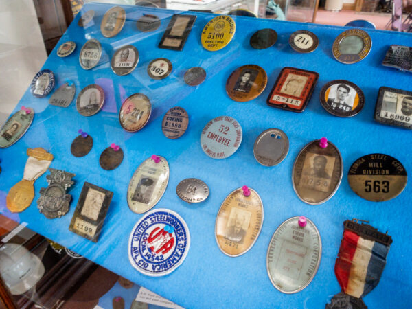 Lukens Steel id cards at the National Iron and Steel Heritage Museum in Coatesville PA