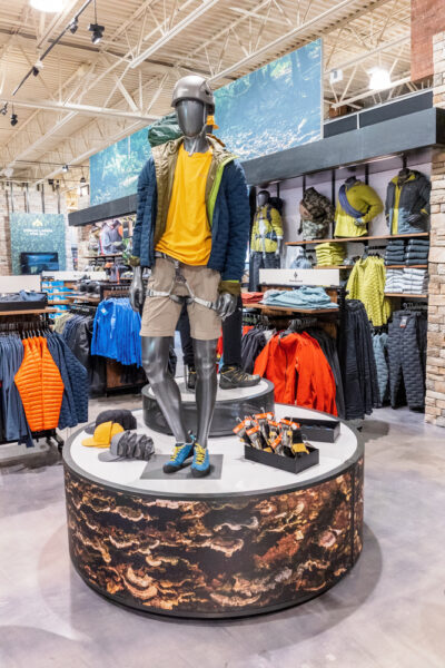 Men's clothing display at Public Lands in Cranberry Township PA