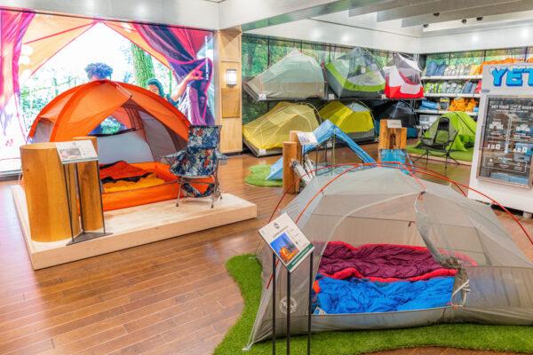 Camping tents set up at Public Lands