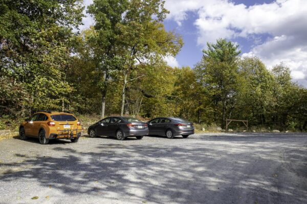 The parking area for Stone Mountain Hawk Watch in Rothrock State Forest