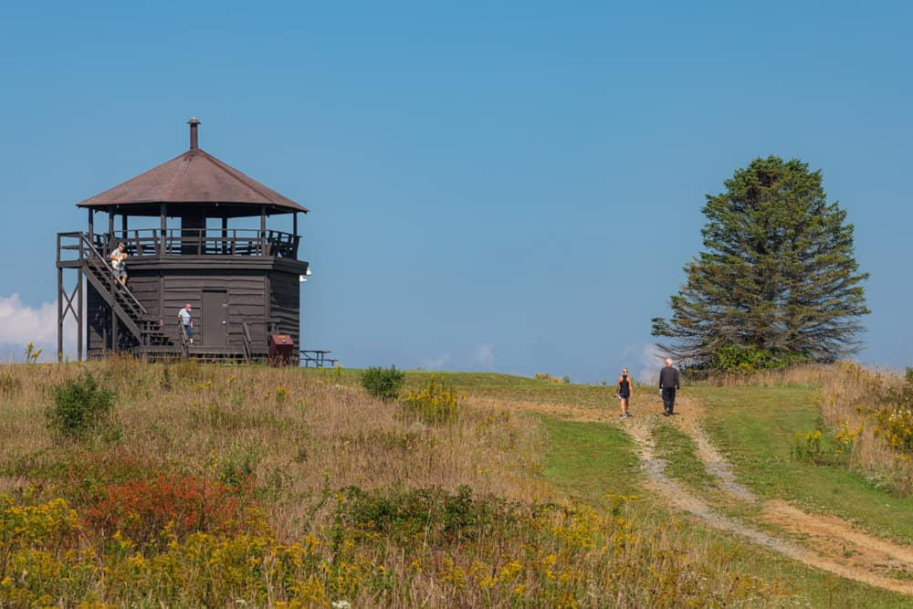 Overlook Tower in Laurel Hill State Park from a distance