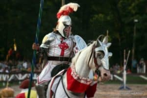 A Knight rides while competing in the Joust at the Pennsylvania Renaissance Faire in Manheim, PA.